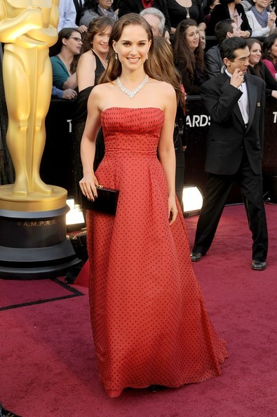 84th Annual Academy Awards - Natalie Portman Style Notes — wearing a vintage polka-dot Christian Dior gown, and Harry Winston jewels.