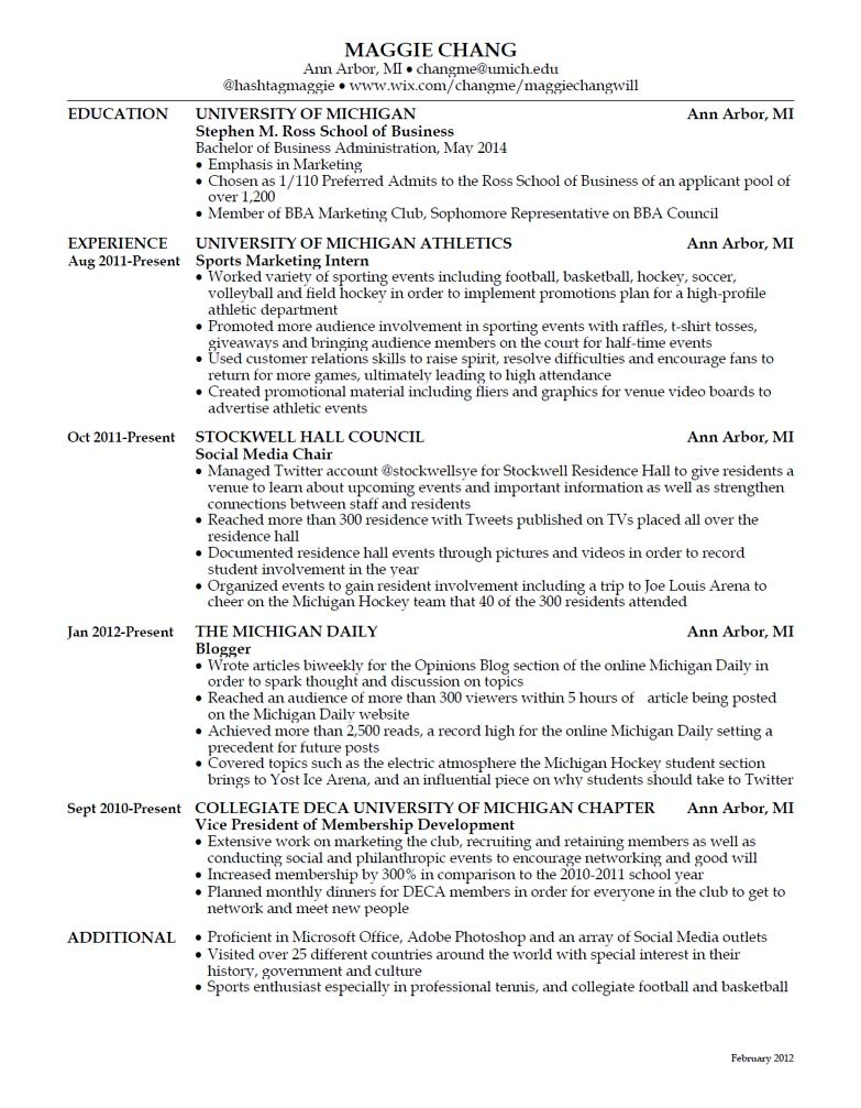 Click here to enlarge Might as well do a resume drop as others before me have! You have already seen a few of my walk-through's with deeper explanations of the resume (click here to view), but here it is in its entirety.  I believe that I do have the leadership skills, the social media skills and the sports knowledge as a basis for the Under Armour Ultimate Intern Team. But no resume is perfect and I can acknowledge that. I'm ready to learn and that's always been my motivation: to continue learning in everything I do. I hope I get the opportunity to learn about the industry that I want to go into, sports apparel/equipment, after I graduate by being the social media specialist for Under Armour.