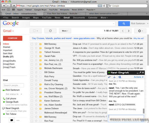 Rick Santorum's Gmail inbox