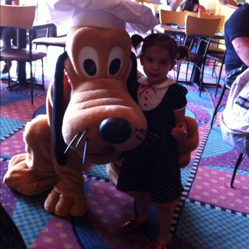 Celebrating Layla's birthday with #Pluto at #GoofysKitchen at #Disneyland Hotel!  (Taken with instagram)