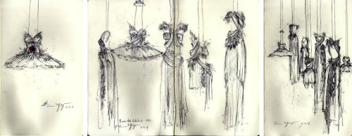 My sketches from the Rodarte Exhibit (2011) combined.