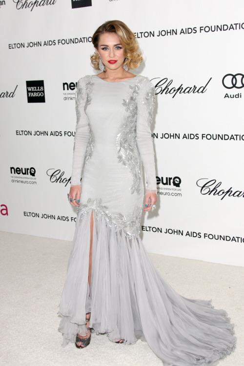 Miley Cyrus at the 20th Annual Elton John AIDS Foundation - Feb. 26, 2012.