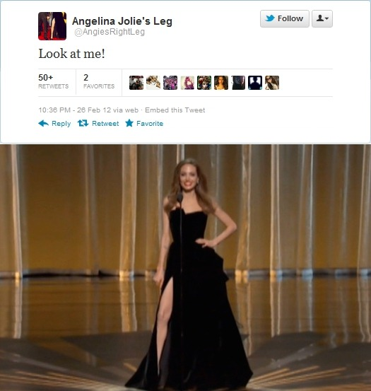 thedailywhat:  Oscars: Aaaaand here's the Twitter account of Angelina Jolie's leg. [@angiesrightleg.] Earlier: J.Lo's nipple.