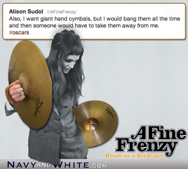 Alison Sudol wishing for Oscar-sized cymbols.