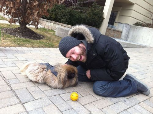 huggingdogs:  There was a guy standing with this dog and he let me hug it! She was so quiet and slow! Submitted by Joey