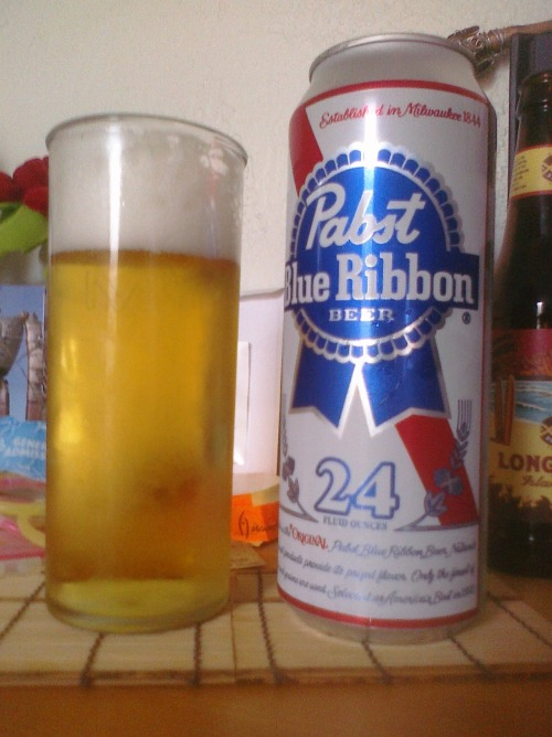 Pabst Blue Ribbon Appearance: Honestly? Like piss. White, foamy head. Smell: Like most beers in general. Taste: Hardly any, until the aftertaste. Bitter. And it lingers. Mouthfeel: Carbonation makes the lips tingle, but finishes smooth. Drinkability: Mediocre at best. I'd drink it if it was free, but would be hesitant to pay for it again. Had it with BBQ chicken and kalbi, which worked out very well: the flavors of the meat masked the taste of the beer. For Jesus: Life will not always be filled with good things, but it is in experiencing some bad times that allows us to appreciate the times that are good.  TL;DR: Passable. Jesus didn't complain.