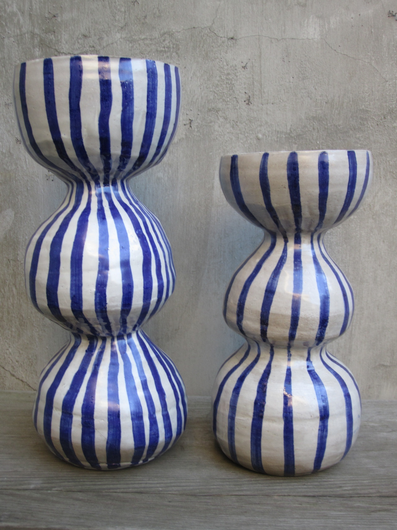paulagreif:  blue and white striped stoneware