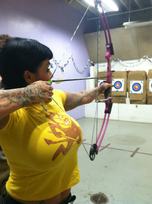 At the archery range…
