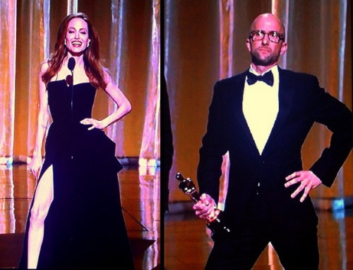 theredhairing:  Jim Rash mocks Angelina Jolie's Oscar pose.