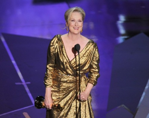 "washingtonpoststyle:  The last time Meryl won an Oscar, we weren't even born yet. That was April 11, 1983. And now: Oscar No. 3, nearly 29 years later. We interviewed her this past December.  Photo by Kevin Winter (Getty)  Also part of the ""not even born when Meryl last won an Oscar"" club."