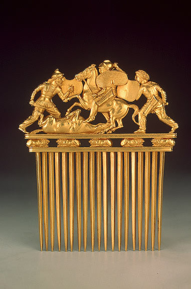 theancientworld:  Comb with Scythians in Battle, Late 5th - early 4th century BCE Russia (now Ukraine) The Hermitage Museum  I'm guessing this is gold, in which case… the detail is amazing enough, but it's mind-boggling that an object made out of such a valuable and ductile metal could survive in this shape for 2500 years. Great stuff.