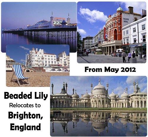 May 2012:  After more than a decade in Italy, Beaded Lily is moving to  		Brighton, England! Come join us as we celebrate our new home!  We will be joining forces with an existing bead store located just a  		stone's throw from the sea in the heart of Brighton: the Big Bead  		Boutique. In addition to the wonderful items and classes currently offered by  		Joanne Tomlin at the Big Bead Boutique, we will be adding our  		line of handmade glass lampwork beads (Created on site by Tim James) and  		the beautiful designer jewellery that is Lily Morda's specialty. And of  		course we will continue to offer our glass bead making and jewelry  		design classes that were our mainstay in Florence.  In addition, we will bring with us a plethora of hand-selected Italian  		items from Florence & Venice that celebrate the local artisan. This  		includes beads (lampwork from Murano and high quality resin beads  		produced in Florence), unique jewelry design components, Italian Tubular  		Wire Mesh Ribbon, Italian yarns, and artisan metal castings produced for 		Beaded Lily in Florence. Plus, we will be offering artistic  		retreats from the UK to sun-drenched spots in Italy! We arrive in April of this year and will be up and running by May. We  		are now accepting class reservations for the Brighton studio. We  		recommend reserving your space sooner rather than later as the summer  		season looks to be quite busy. For detailed information on our glass  		bead making classes (at the torch) please visit: www.BeadMakingClasses.com For detailed information on our jewellery design classes please visit:  www.BeadedLilyGlassWorks.com/Beading_Classes.htm Stay tuned…We can't wait to meet you!! Brighton here we come!