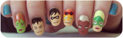 fashiontipsfromcomicstrips:  Manicure Monday: Young Justice nails, by sheepishdreams.
