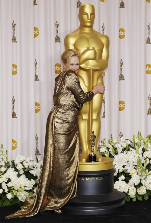 suicideblonde:  Meryl Streep in the press room after winning her Best Actress Oscar at the 2012 Academy Awards, February 26th, 2012