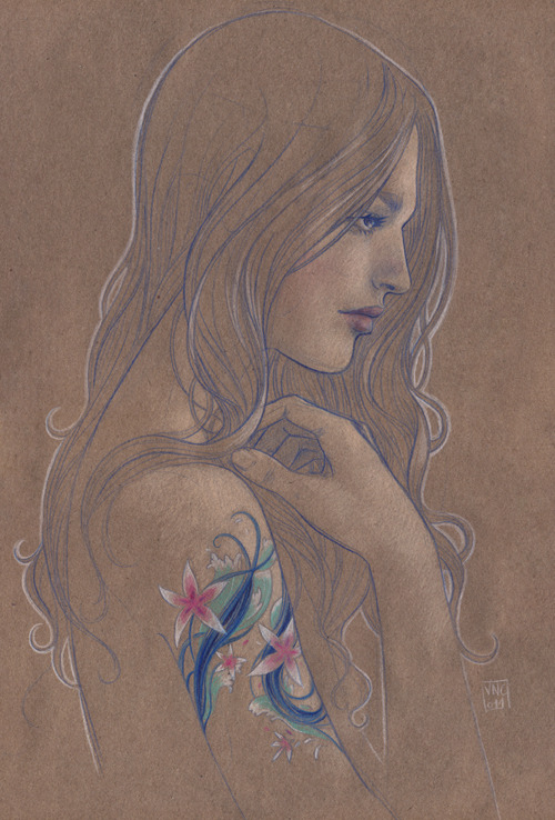 Girl with flower tatoo by Vero Navarro