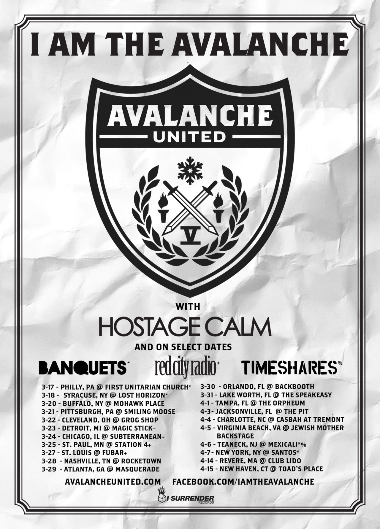 avalancheunitednyc:  Holy fuck, 3 weeks til our headline tour starts in Philly with the Hostage Calm gang.  Banquets, Red City Radio and Timeshares are joining up on various shows too. Spread the word, hope to see all you lovely people somewhere along the way…  April 7th! I need some IATA to make me feel better.