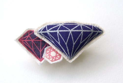lustik:  Bling - Screen printed and stuffed gem brooch with pin Hitoko Okada