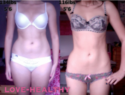 love-healthy:  My before and after. I'm so embarrassed to post what I looked like before and I can't believe I ever let myself get that way, but here we are, this is what a few months of hard work can do :)