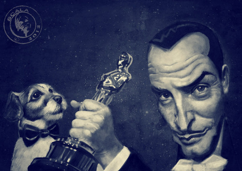 heyoscarwilde:  Ze Oscar for Le Artist Jean Dujardin from The Artist illustrated by Eric Scala :: via blogscala.blogspot.com  Jean, helping out his friend Uggie by holding the Oscar he won, for Best Dog Ever. #tweetyadreams