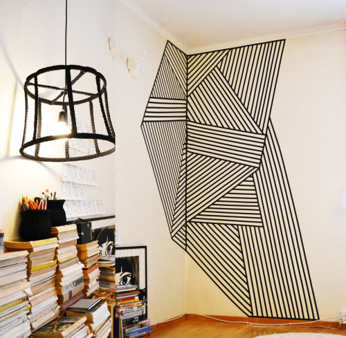 mollasworks:  Wall decoration made with black plastic tape, size 200x260cm. Wire lamp made from recycled lampshade, crocheted cover. Crocheted small ming vases.