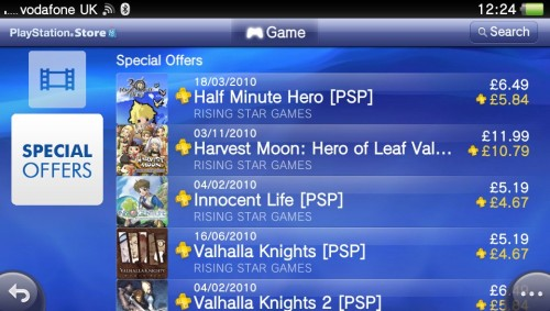 SALE!! Check out our PSP titles on PSN:- We're offering 50% discount of SRP's for standard PSN users and an extra 10% (60% total) of SRP's for PSN PLUS users. Half-Minute Hero Harvest Moon Hero of Leaf Valley Harvest Moon Innocent Life Valhalla Knights Valhalla Knights 2 Valhalla Knights 2 Current Battle Stance