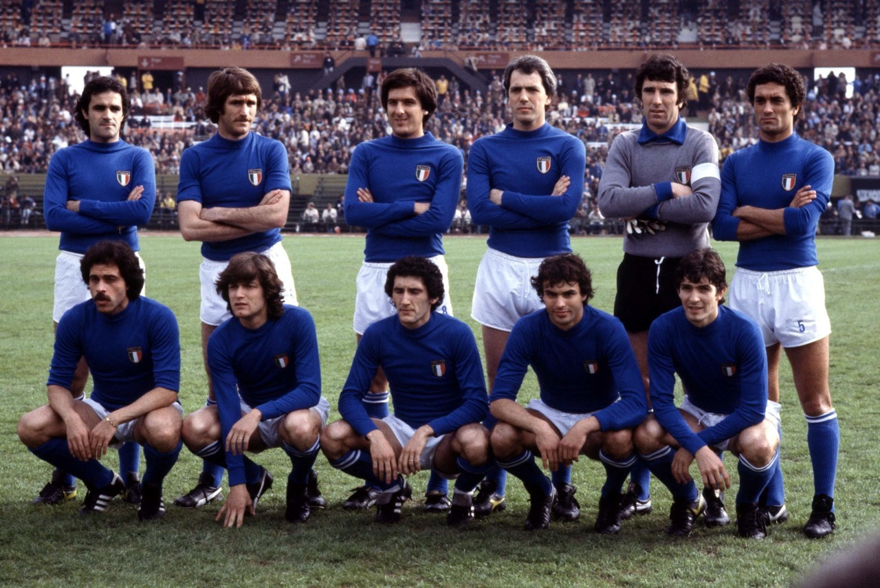 Azzurri to face Brazil in the third place game of World Cup 1978: Cuccureddu, Maldera, Scirea, Bettega, Zoff, Gentile; Causio, Antognoni, Sala, Cabrini, Rossi.