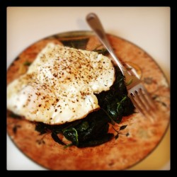 Paleo Challenge Day 1 Breakfast: Fried Eggs w/Sautéed Spinach (Taken with instagram)