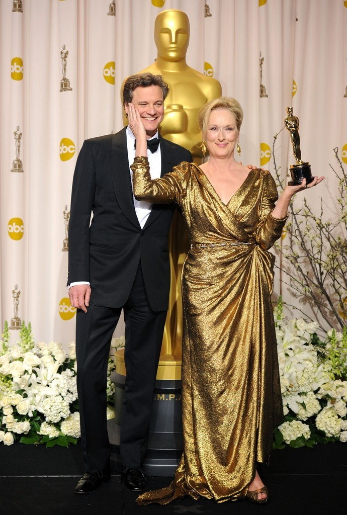 Colin Firth and Meryl Streep in the press room for the 2012 Oscars, February 26th This picture is the definition of adorable.