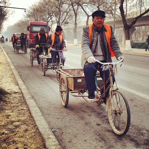 Time to make the donuts. nathanblairdesign:  Morning Workers #beijing #street #movement #tricycle (Taken with instagram)
