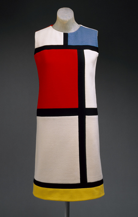 Yves Saint Laurent - Mondrian Day Dress, 1965. Wool jersey in color blocks of white, red, blue, black, and yellow From  the Metropolitan Museum of Art:   As the sack dress evolved in the 1960s into the modified form of the shift, Saint Laurent realized that the planarity of the dress was an ideal field for color blocks. Knowing the flat planes of the 1960s canvases achieved by contemporary artists in the lineage of Mondrian, Saint Laurent made the historical case for the artistic sensibility of his time. Yet he also demonstrated a feat of dressmaking, setting in each block of jersey, piecing in order to create the semblance of the Mondrian order and to accommodate the body imperceptibly by hiding all the shaping in the grid of seams.