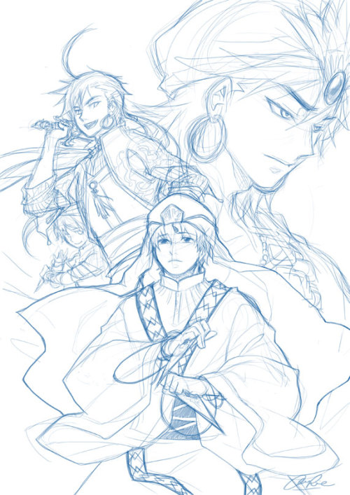 "Excuse me for a brief Magi moment.  This sketch inspired by Magi ch.112 where Sindbad was all; ""Dude, did I become a twisted person?"" and Jafar was all; ""You bet you did, but I'm still gonna be your most loyal henchman anyway."" GOSH you two just get married already!! Yeah recently I've been rereading the Chinese scanlations even though I don't understand a thing. Man, the ones involving Sindria folks are all epic. <3 Fortunately now the English scanlations are released in faster pace, thank you scanlators! Whoever you are."