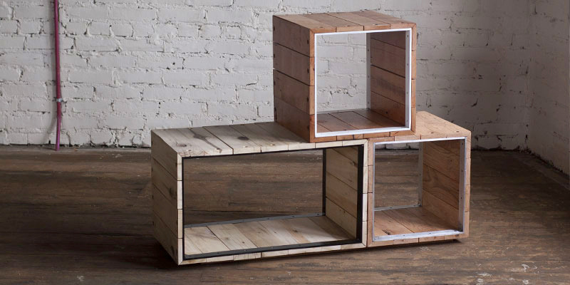 Boxes by 2ND SHIFT A combination of aluminum frames and slats of reclaimed lumber. For the debut series wood comes from the defunct amusement park, Geauga Lake's, Grizzly Run ride.