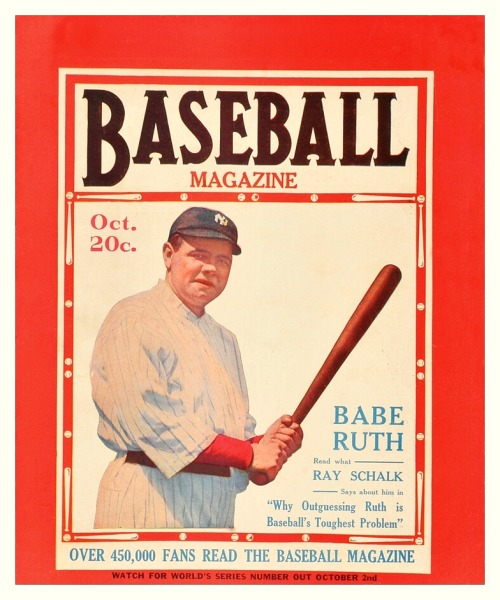 "Babe Ruth cover of 'Baseball Magazine' - October 1920 Including, ""Why Outguessing Ruth Is Baseball's Toughest Problem"", by Ray Schalk."