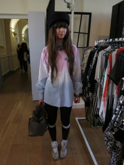 I got snapped at London Fashion Weekend by VVVintage, an online boutique set up by VVBrown and Lola Peach (who was delightful). I was wearing my favourite Whiteley upside down hat, House of Holland for Pretty Polly knee-highs, gold stripe reebok classics and a recycled shirt (by me) with a man's grey silk bowtie. (Please note, I was far more impressed than my dodgy expression belies!) Check out their awesome website and blog… http://www.vvvintage.com/ http://www.vvvintage.com/2012/02/27/london-fashion-weekend-2/