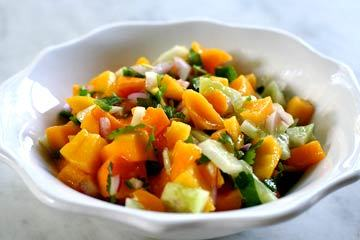 I've been on a mango salsa kick for the past week. If you enjoy mangos, this recipe is delicious and it's great in many different applications: on top of fish, in chicken lettuce wraps, on top of pork, in rice, etc etc. Mango Salsa You Will Need: 1 Ripe Mango, Peeled, Pitted and Diced 1/2 Medium Red Onion, Finely Chopped 1 Jalapeno Chile, Minced (Include Ribs and Seeds for More Spice!) 1 Small Cucumber, Peeled and Diced (About 1 Cup) 3 Tbsp. Fresh Cilantro Leaves, Chopped 3 Tbsp. Fresh Lime Juice Salt and Pepper, To Taste (**I didn't have any cucumber when I made this recipe and it was still delicious!)  Preparation is easy, just combine all the ingredients. Like most dips and salsas, it's always more delicious the next day so make a day ahead for the best flavor. If the recipe ends up being too hot, you can add avocado to tone it down.  Recipe Via: Simply Recipes
