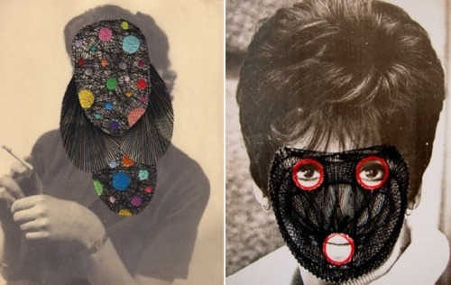 d-game:  Maurizio Anzeri. He makes use of vintage photographs by embroidering onto them. Question: where do you find vintage photographs?  Antique shops!!