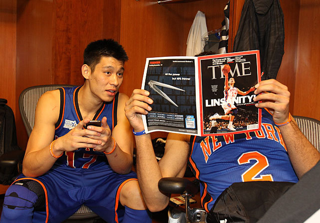 Jeremy Lin and Landry Fields read about this new sensation called Linsanity before the BBVA Rising Stars Challenge on Friday. Lin was held to two points but Fields scored 16 as Team Chuck beat Team Shaq 146-133. (Kent Smith/NBAE via Getty Images) THOMSEN: Wade bloodies Kobe as West holds on for winVIDEO: All-Star game highlights | Wade hammers KobePHOTOS: 2012 All-Star Game | Celebs at All-Star Weekend