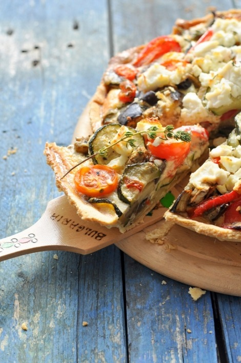 gastrogirl:  roasted vegetable tart with feta and ricotta.