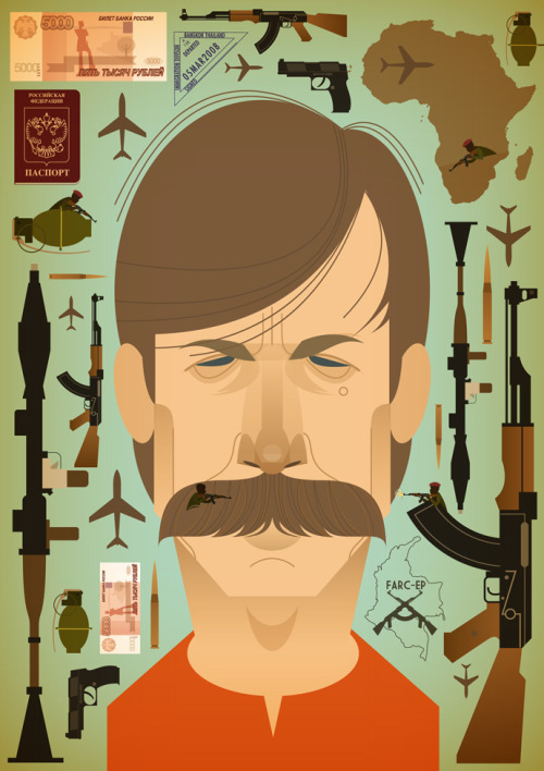 @stan_chow's illustration for The New Yorker's article on arms dealer Viktor Bout. stanleychowillustration:  'Disarming Viktor Bout'. Illustration for an article I did for the New Yorker. http://www.newyorker.com/reporting/2012/03/05/120305fa_fact_schmidle