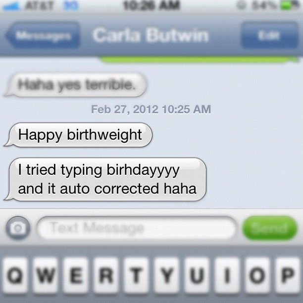 iPhone Birthday Fail from my sister. #autocorrect #fail #iphone (Taken with instagram)