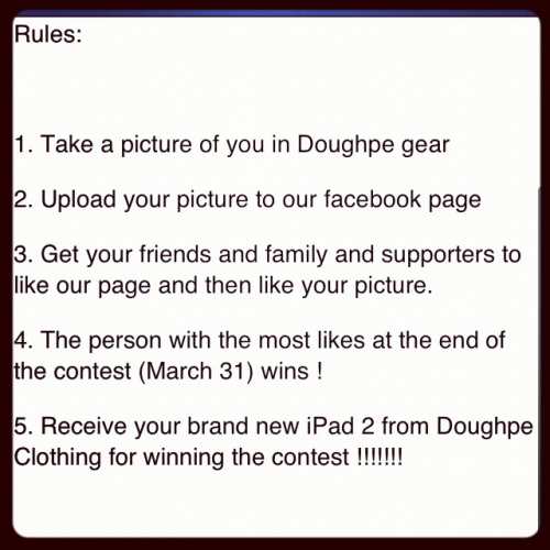 Win a FREE iPad 2 from Doughpe Clothing !!