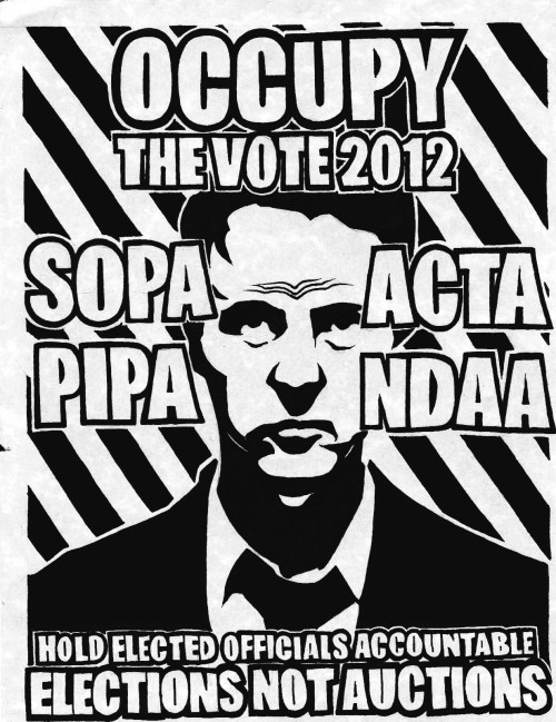 "youranonnews:     OUR POLLS — OCCUPY THE VOTE - ELECTION SEASON 2012 Announcing ""OUR POLLS"" - A new joint effort between Anonymous and the Occupy Movement to hold politicians accountable to the People. Elected officials serve one purpose — to represent their constituents, the people who voted them into office. Last year, many of our elected officials let us down by giving in to deep-pocketed lobbyists and passing laws meant to boost corporate profits at the expense of individual liberty.  Our Senators and Representatives showed how little they cared about personal freedoms when they voted overwhelmingly to pass the National Defense Authorization Act (NDAA). The NDAA allows for the indefinite detention of individuals based merely on a suspicion or allegation of sympathizing with questionable groups or causes. This act is a prominent threat to the inalienable due process rights of every US citizen as laid out in the Constitution. It allows the military to engage in civilian law enforcement, and to suspend due process, habeas corpus or other constitutional guarantees when desired. Our congressmen passed one of the greatest threats to civil liberties in the history of the United States. Will we hold them accountable on election day? Will we hold our elected officials accountable for supporting rigid Internet censorship laws such as SOPA, PIPA, HR 1981 and the ACTA treaty? The Stop Online Piracy Act (SOPA) and the Protect IP Act (PIPA) aimed to crack down on copyright infringement by restricting user access to websites that hosted or helped facilitate pirated content. SOPA and PIPA's ambiguous, broad wording would have cast a wide censorship net around most of the Internet, thus creating questions of due process, burden of proof, and privacy violations. The proposed laws were lobbied and paid for by Hollywood, RIAA, MPAA and other massive media companies and would safeguard entertainment industry profits at the expense of essential freedoms, the Internet and constitutional civil liberties . Even if the goal was to merely regulate pirated content, the ambiguous wording demonstrates that the authors and supporters of SOPA and PIPA have little-to-no understanding of the Internet's architecture or the frightening implications of the legislation.  What can you do? You are one person. You have one vote. Use that vote on November 6 to hold your elected official accountable for supporting bills such as NDAA, SOPA and PIPA.  We are calling on voters, activists and keyboard warriors under all banners to unite as a single force to unseat the elected representatives who threaten our essential freedoms and who were so quick to minimize our individual constitutional rights for a quick corporate profit.  Follow @OurPolls and @AnonPAC for updates, news, leaks, and calls to action."