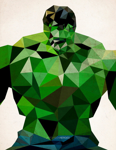 Superheroes recreated in polygons