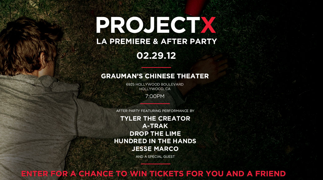 Hey LA: Enter to win tickets to the premiere of the new movie Project X + an afterparty featuring Tyler the Creator, A-Trak & more