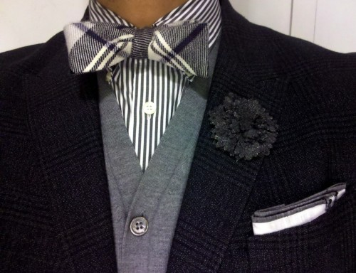 Ralph Lauren shirt-Black Fleece bow tie- Barneys NYcardigan-Paul Smith jacket- Lanvin pin- Tom Ford pocket square