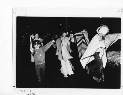 1975 Mardi Gras revelers parade down the Hartford streets at midnight. Photo credit: Bob Antaramian