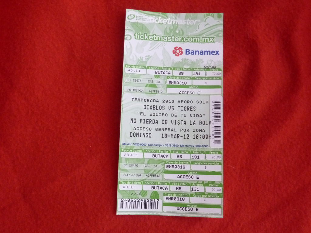 My ticket for opening day: Diablos Rojos del México against last season's champions and José Canseco's current team, Tigres de Quintana Roo.