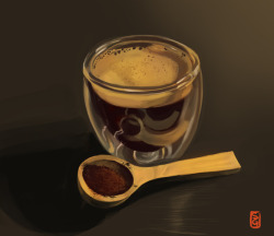 Blog: Digital painting, still life, espresso shot. More on the blog…