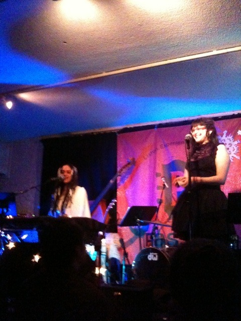 "macabrekawaii:  photo of me and Singer Mali at Club Passim, performing my poem ""Lupercalia"" with musical accompaniment! it was unbelievable and I am still so touched and honored to have been a part of the Winter celebration."