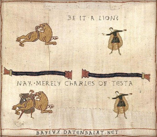 knowyourmeme:  Not even the Bayeux Tapestry is safe from Mr. Testa. KYMdb - Nope, Chuck Testa